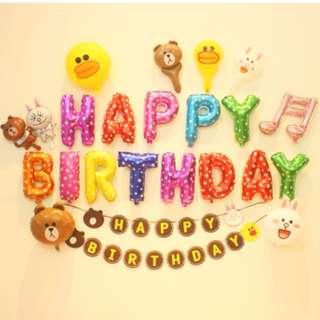 (In Stock)Line theme Party Decoration Set-Happy Birthday