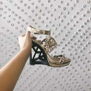 REDUCED PRICE - BCBGMAXAZRIA Snakeskin Cutout Heels - Size 8