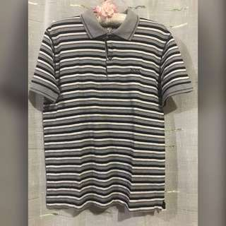Gray Striped Polo Shirt