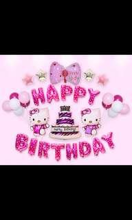 🦄 Happy Birthday Party Decor Balloon Set - Hello Kitty