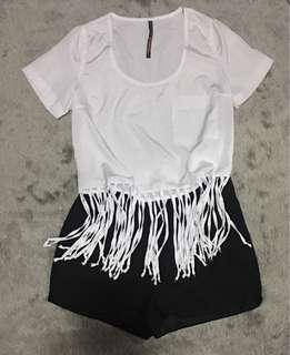 Outfit Bundle:  People are People Fringe Top and Black Shorts