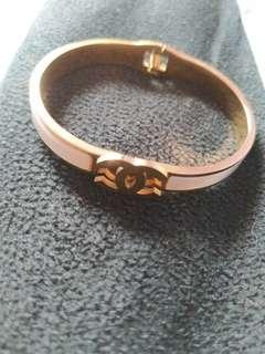 Chanel rose gold pearl bangel bracelet