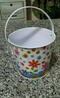 Decorative Tin Pail - Flowers & Butterflies