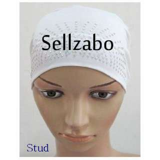Studs White Stretchable Studded Stretchy Head Wrap Sellzabo Muslim Malay Hair Accessories Hijab Inner Tudung