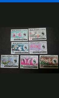 Malaysia 1965 Negeri Sembilan Orchids Definitive Complete Set - 7v Used & MH Stamps