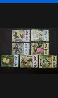 Malaysia 1971 Selangor Butterflies Definitive Complete Set - 7v Mix MH & Used Stamps #1