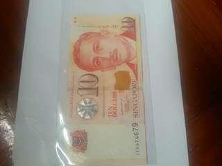 9H9T, portrait (paper) LHL $10 note 1pcs.