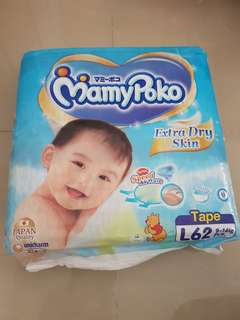 Mamypoko Diapers L size 62 pieces