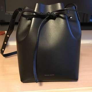 Mansur Gavriel bucket bag in black with silver interior