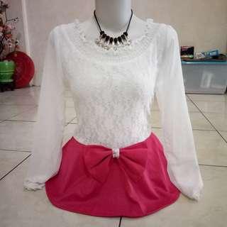 Dress peplum ribbon NEW import