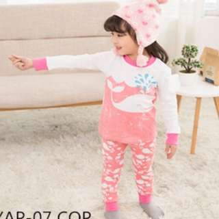 INSTOCK Pink Whale snug fit pyjamas set