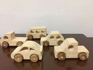 5 Hand made wooden toy car