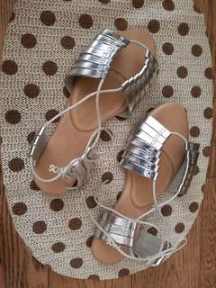 Asos size 7 silver lace up sandals