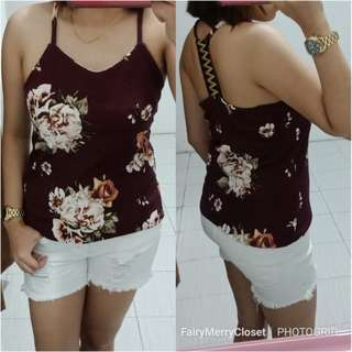 Spagetti tank top-maroon floral