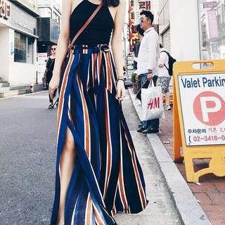 高腰條紋闊腿裙褲