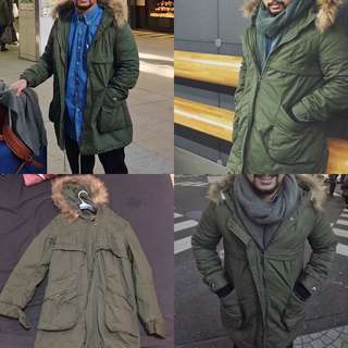 unisex winter jacket olive green  earth tone fur jacket