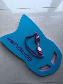 Swimming kickboard & junior swimming goggles