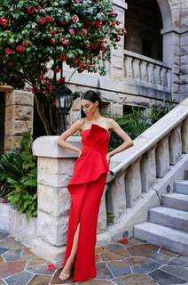 Elle Zeitoune Esmerelda red formal dress