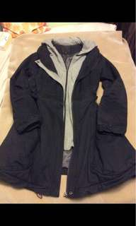 Black parka with sweater and hood- Size M