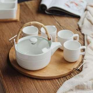 Hari Raya💚PO Ceramic Tea Cup Set Of 4 With Tray