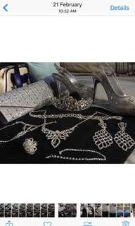Silver Clutch bag or sling bag