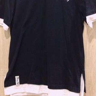 🚚 韓版假兩件黑白t恤獨特logo