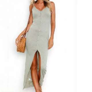 S-XL Maxi Slit Button Dress