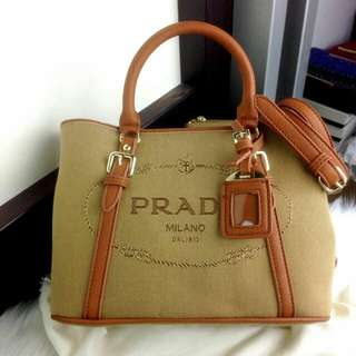 PRADA Jacquard Logo Shoulder Bag