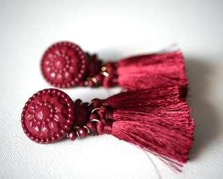 Maroon Drop Tassel Earrings