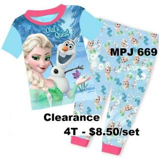 Clearance---  Frozen Short Sleeve Pyjamas