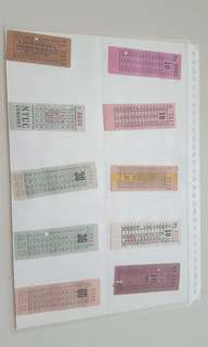 Vintage antique old bus ticket set #1