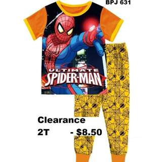 Clearance---Spider Man Yellow Short Sleeve Pyjamas