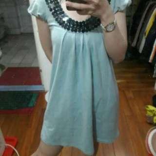 🚚 正韓亮片圓領低胸修身水藍海洋藍傘狀洋裝