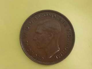 UK king George Vi 1937 One Penny