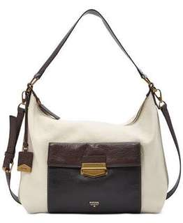 Authentic Fossil Vickery Colorblock Hobo Crossbody Leather Bag