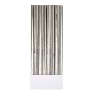 25pc Metallic Foil Straws – Silver
