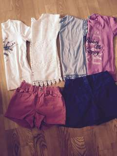 Bundle of 6 Girl's T-shirts and Bottoms