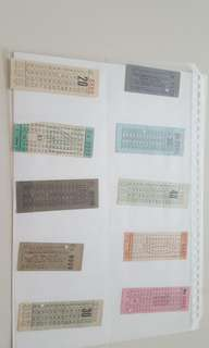 Vintage retro antique bus ticket set #5