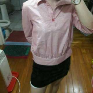 🚚 Miss iris 粉色直條紋粉白v領開襟上衣