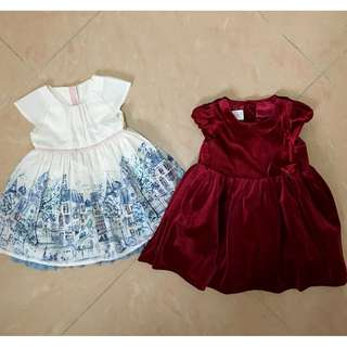 2 Baby girl party dresses H&M 12-18 Months / M&S 6-9 Months