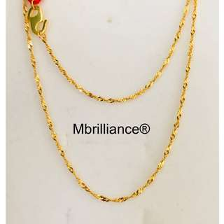 Sexy Slim twist chain necklace, 916 Yellow Gold