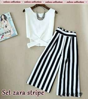 Set zara stripe putih