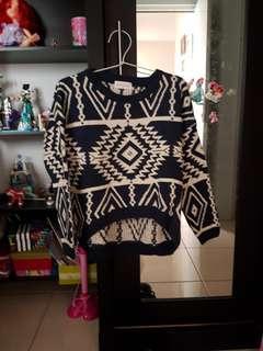 Aztec navy wool sweater