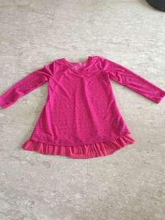 Pink Long lace blouse