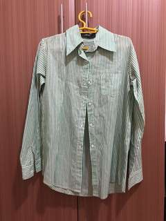 Green Pinstripe Button down Top