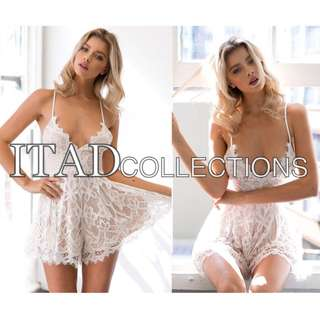 White lace backless jumpsuit