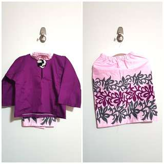 PL almost new baby girl toddler traditional baju kurung for hari raya cotton purple floral size S or 1