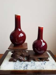 Old Chinese red ox blood glaze vase