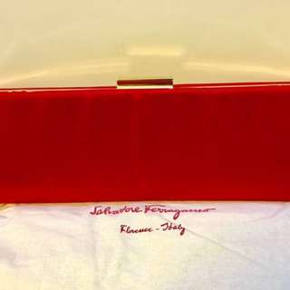 Ferragamo satin clutch 100% new