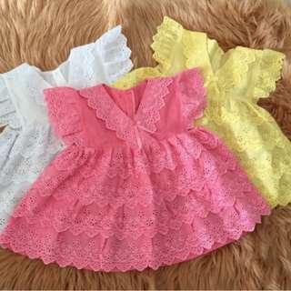Cute Baby Dress (Pink, Yellow & White)